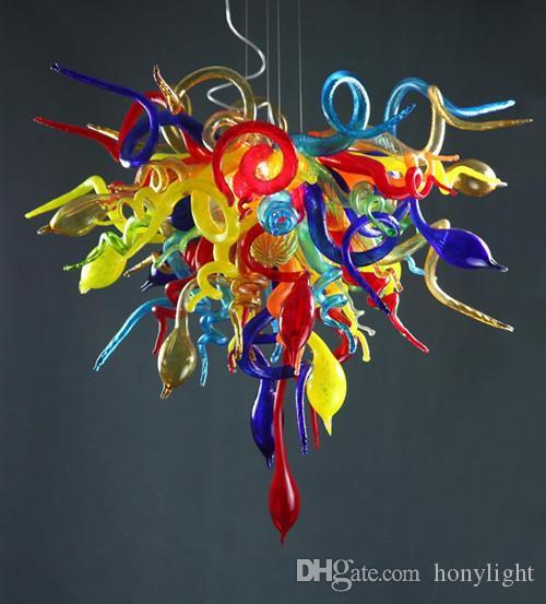 Chandeliers Mano soplado vidrio LED lámparas de araña Multi coloreado Luz colgante para salón comedor decoración de arte