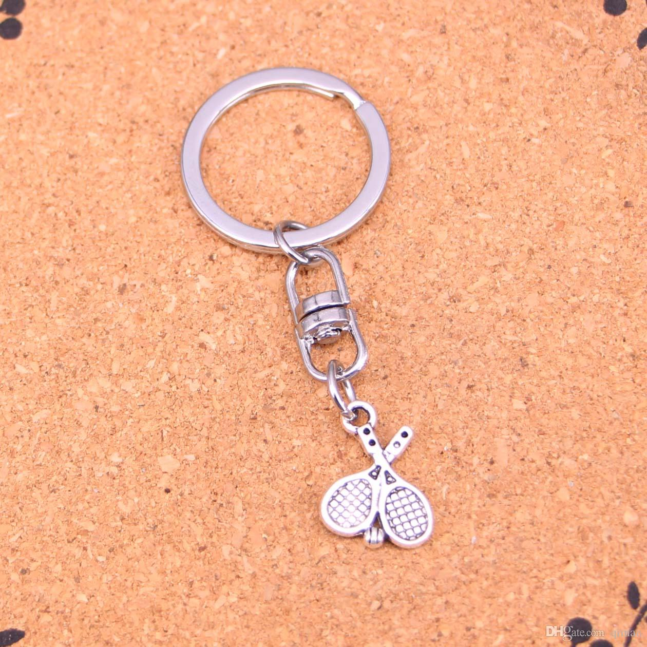 New Fashion tennis Keychains Antique Silver plated Keyholder fashion Solid Pendant Keyring gift