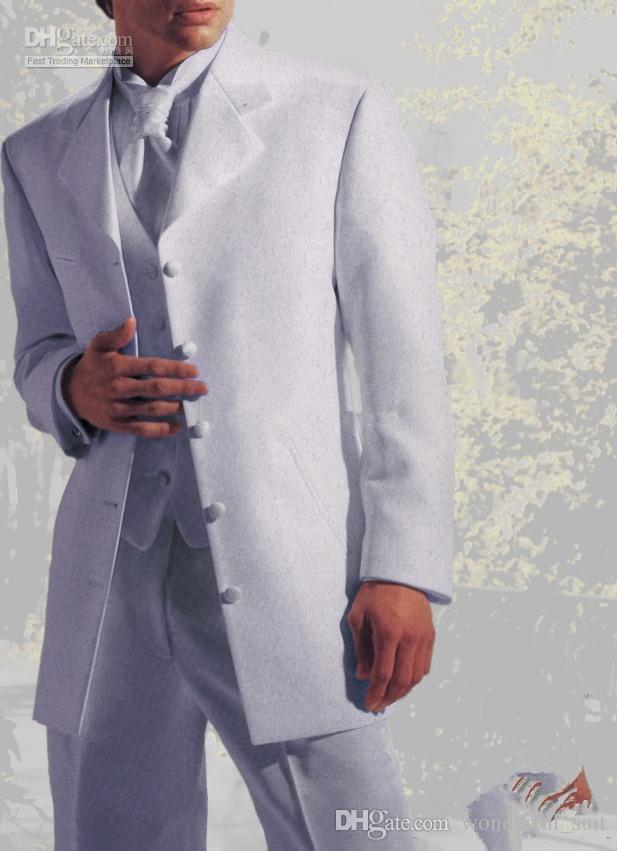 새로운 스타일 다섯 버튼 화이트 신랑 턱시도 남자 재킷 댄스 파티 복장 결혼식 정장 번호 : 36