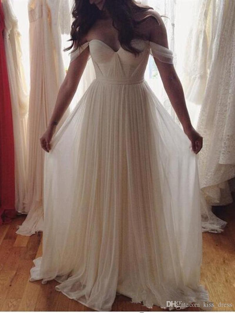 Mais recentes tule vestidos de casamento de praia verão fora do ombro branco marfim a linha querida pregas império estilo simples vestidos de noiva 2019 w1610