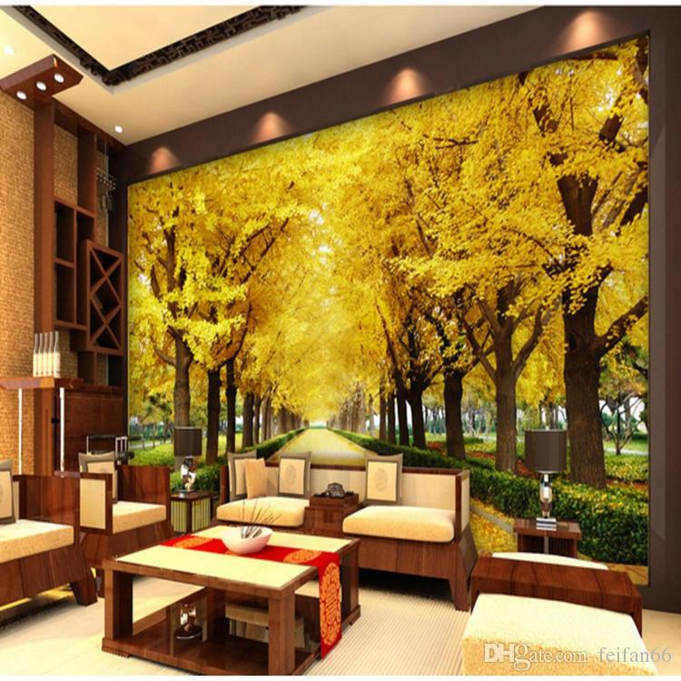 3d Large Fresco Modern Simple And Seamless Wallpaper Yellow Full ...