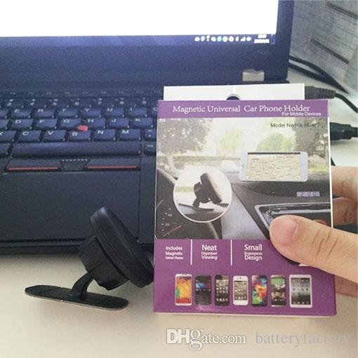 Universal 360 Graus de Rotação Magnética Titular Do Telefone Do Carro Do Painel Do Painel De Montagem Do Telefone Móvel Pegajosa Ímã Titular para o iphone com caixa de Varejo