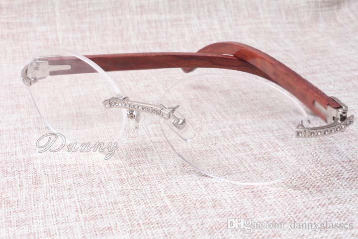 La chaleur et les verres de diamant de luxe de haute qualité en bois T8100903 lunettes à carreaux naturel Mode et nos verres Ils Taille: 54-18-135mm
