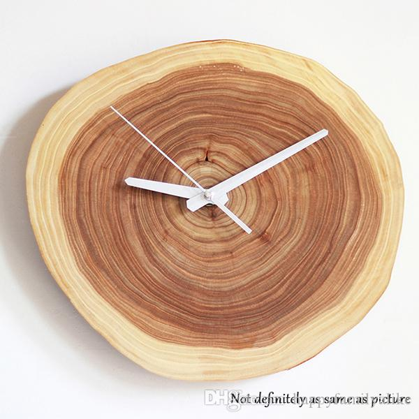Wooden Wall Murals Clock Crafts Annual Ring Decorative Clock Modern