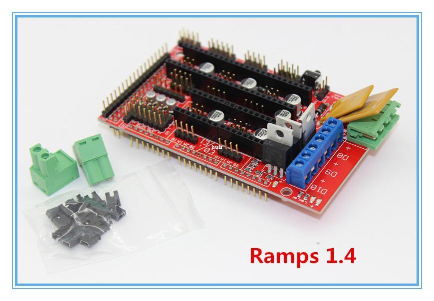 Freeshipping Ramps 1 4 kit + Mega 2560 , Heatbed mk2b , 12864 LCD  Controller DRV8825 , Mechanical Endstop, Cables For 3D Printer