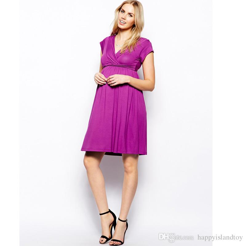 HI Bloom V-Neck Knee-Length Dress+Adjustable Sashes for Pregnant ...