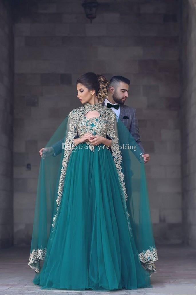 Vintage Green Arabic Evening Dresses With High Neck Appliqued Floor Length Jacket Cape Tulle Formal Evening Gowns Long Prom Dresses