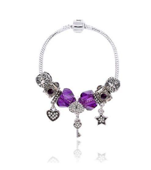 5 x Mixed Purple Charm Beads Murano Lampwork etc Fits European Bracelet