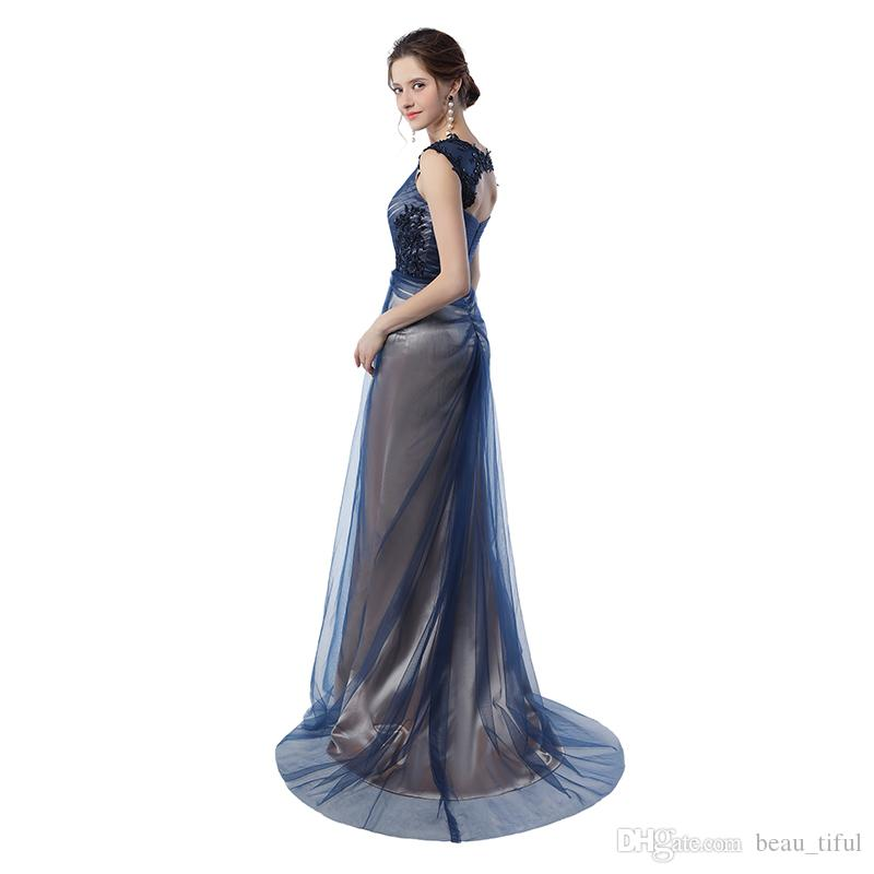 Real Pictures Navy Blue Mermaid Evening Gowns 2020 Grey Color Vintage Party Gowns Prom Dresses
