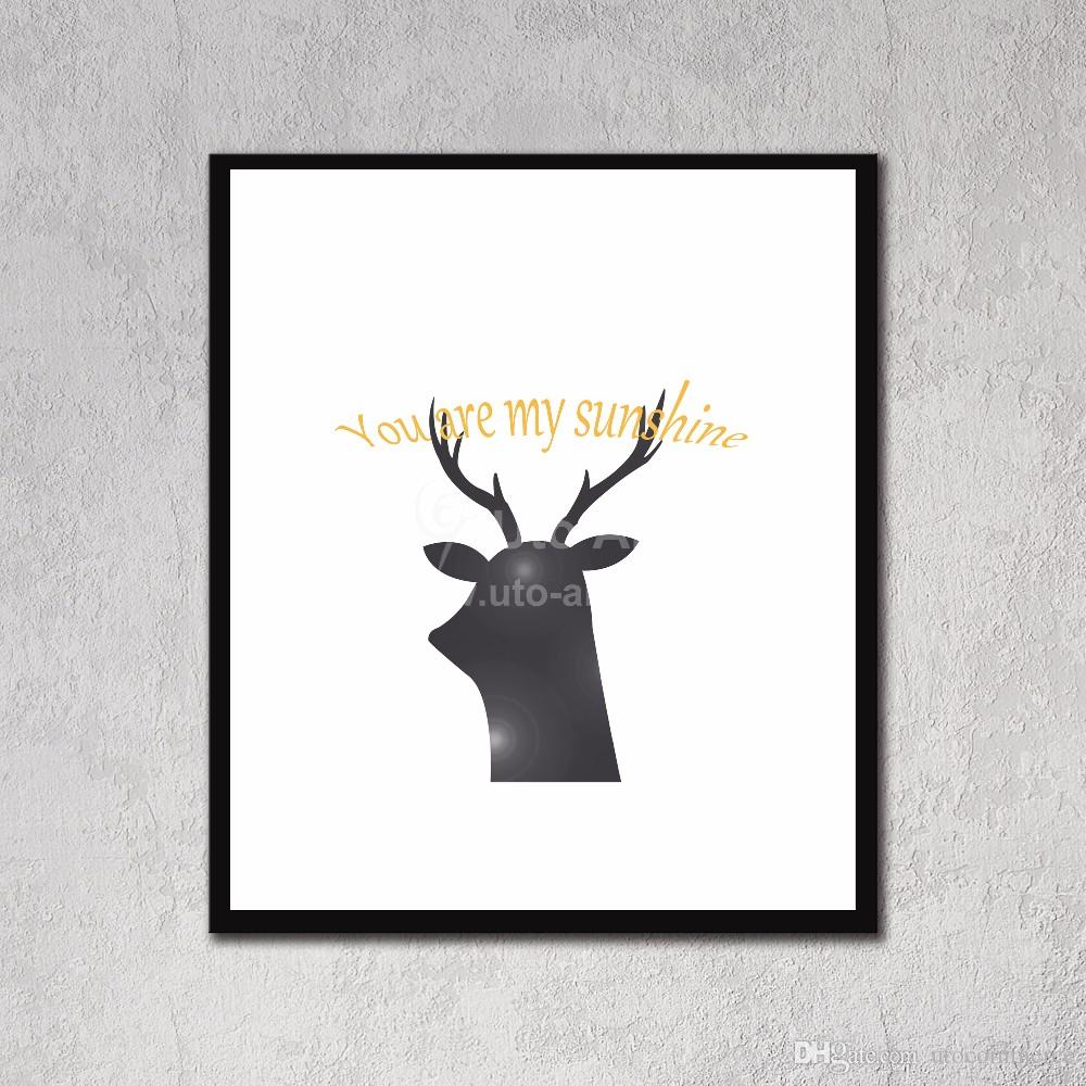 Modern European Wall Decoration Painting Panel Art Prints Picture of Black Deer Canvas Prints with Frame for Living Room
