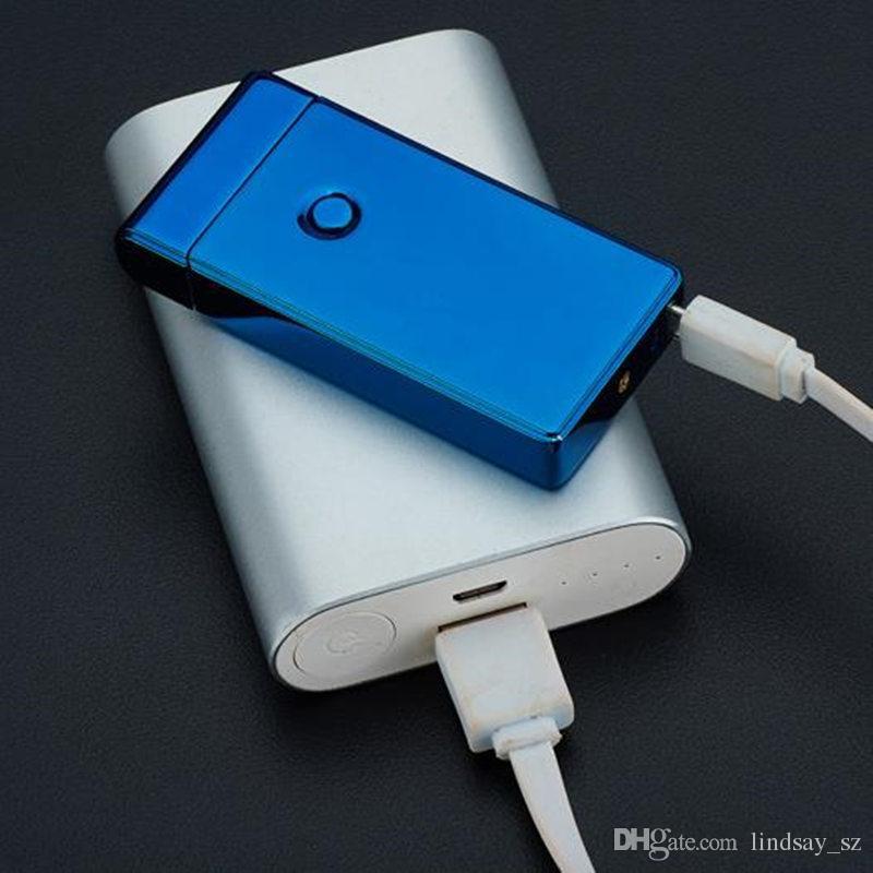 Elektronik Çakmak ÇIFT Ark Windproof Ultra-ince Metal Darbe USB Şarj Edilebilir Alevsiz Elektrik Ark Puro Çakmak