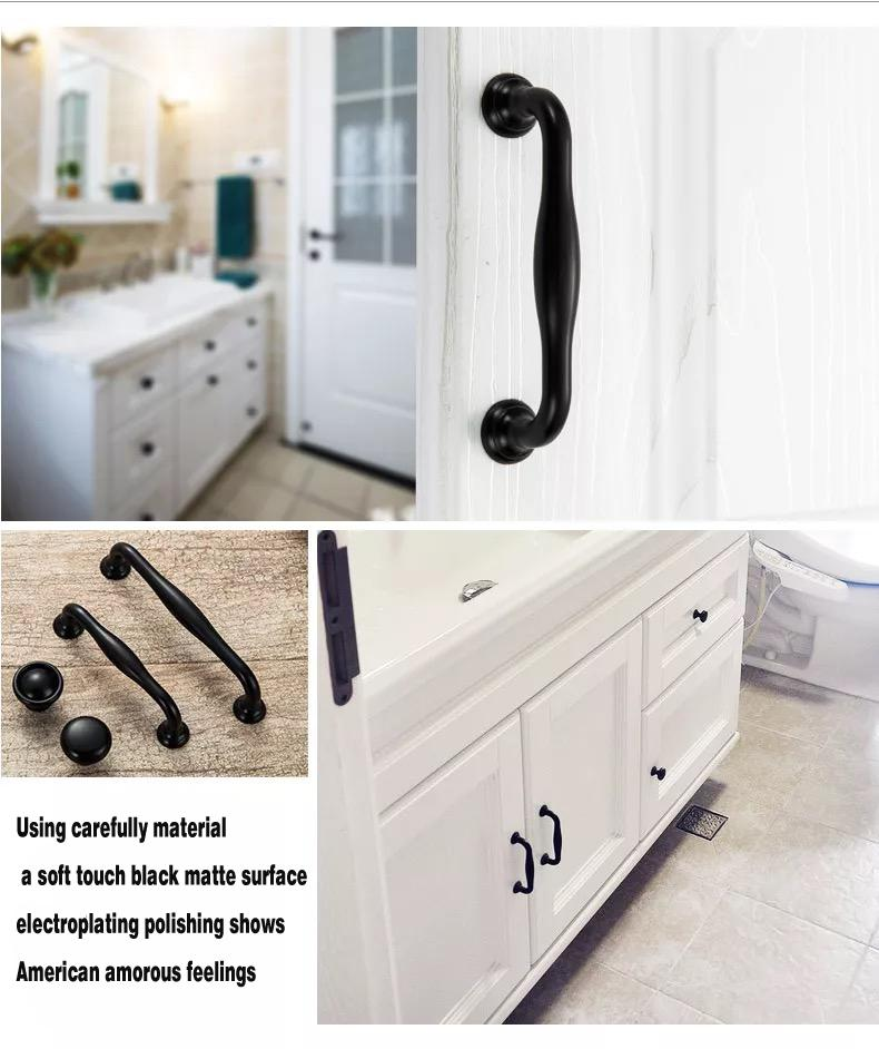 2018 Matte Black Wardrobe Handle American Furniture Cupboard Door Handle  The Pitch Of Contemporary And Contracted Cabinet Drawer Double Hole Hand  From ...