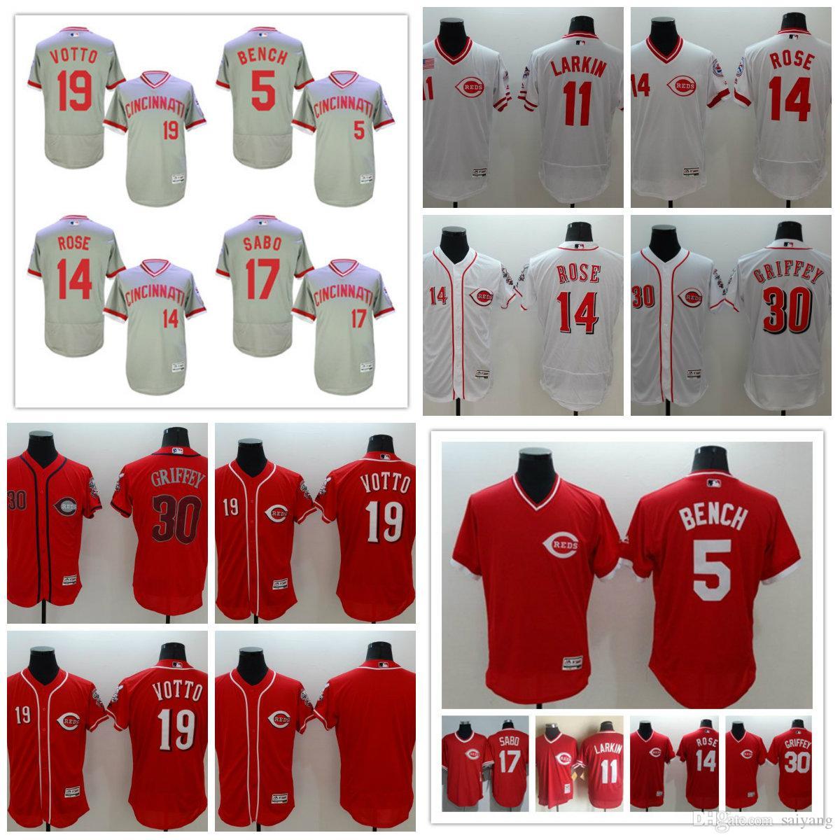 2018 cincinnati reds 30 ken griffey jr jersey 11 barry larkin 19 joey votto 8 morgan 5 bench 14 pete