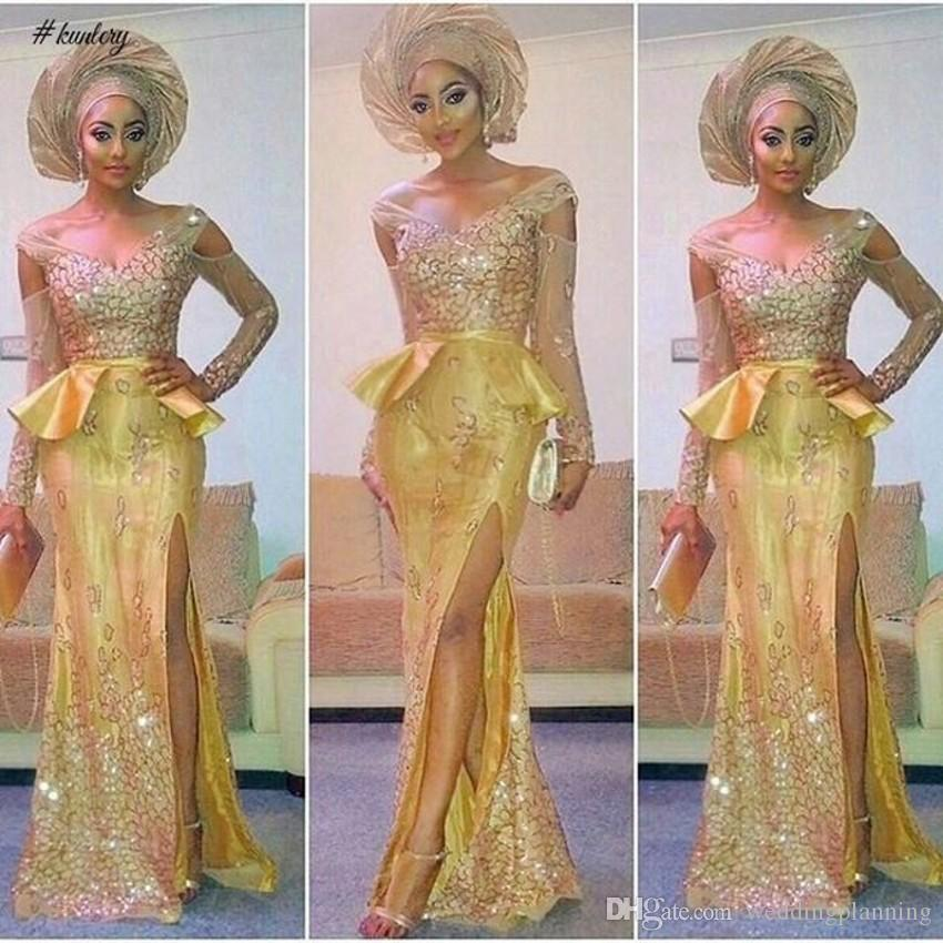 Libanon Nigeria Sexy Split Prom Kleider Open Back Spitze Appliques Arabisch Fiesta Party Kleider Shiny Prom Dress Formale Maßanfertigung