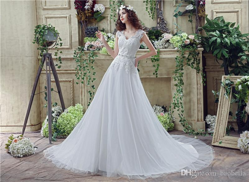 Gorgeous Tulle Appliques Wedding Gown A Line V Neck Formal Bridal ...