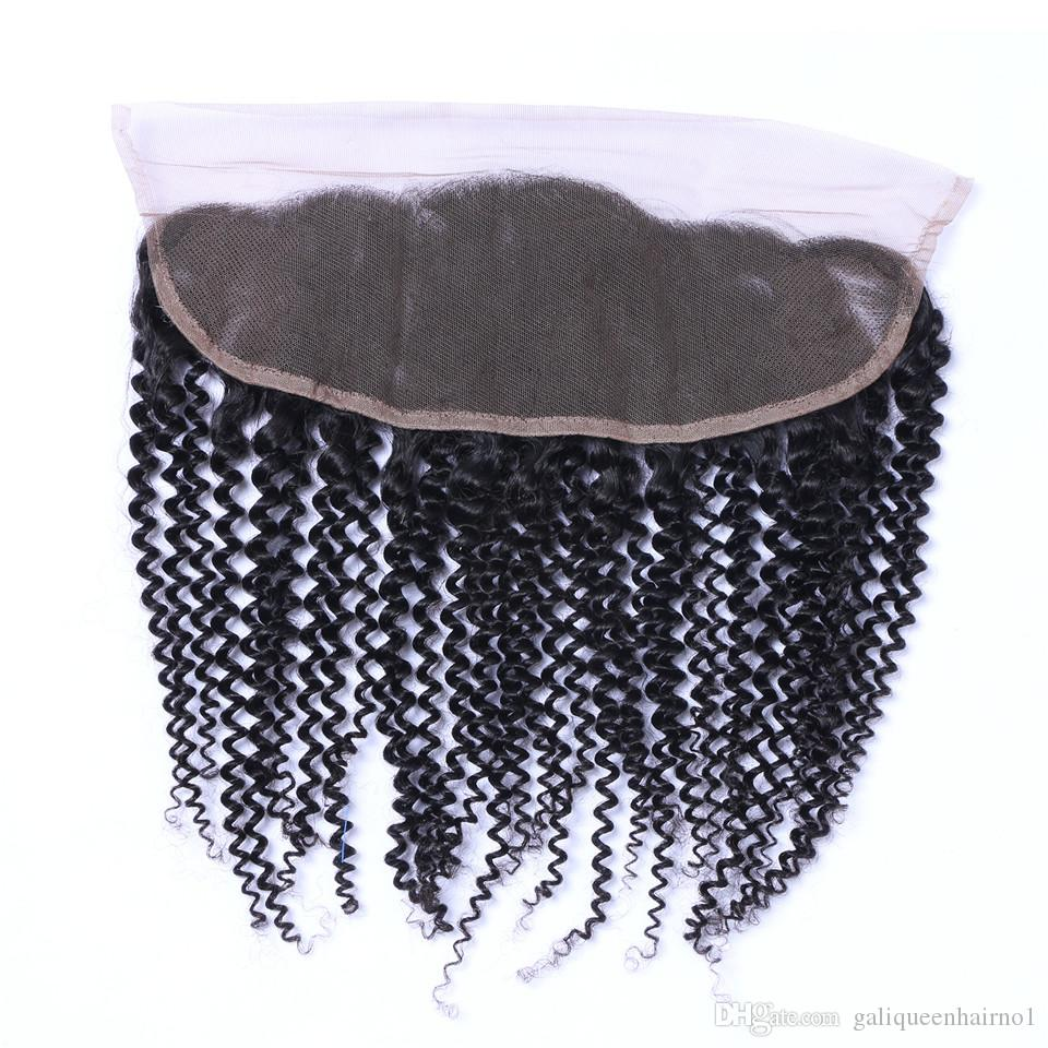 Brazilian Kinky Curly 13x4 Ear To Ear Pre Plucked Lace Frontal Closure With Baby Hair Remy Human Hair Free Part