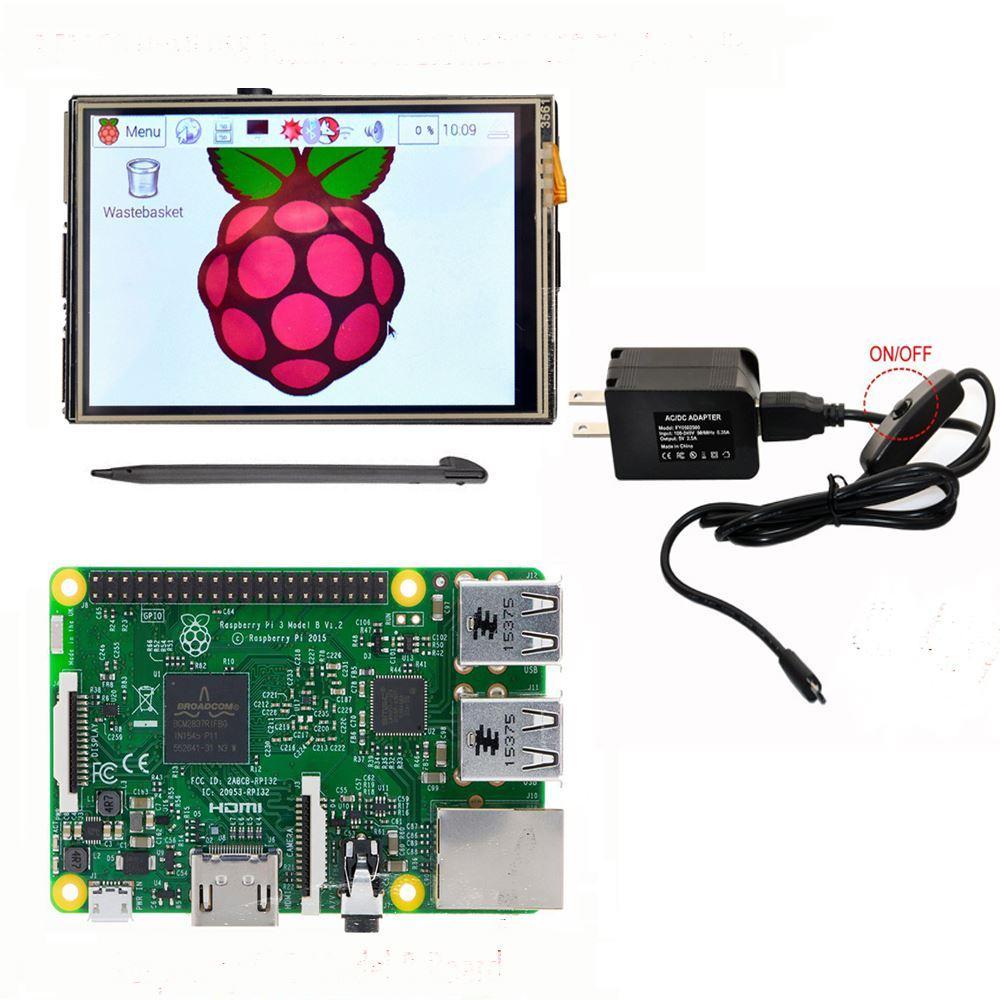 Freeshipping Raspberry Pi 3 Model B Board 3 5 LCD HDMI USB Touch Screen  1920x1080 LCD Display Audio 5V 2 5A US Power Supply