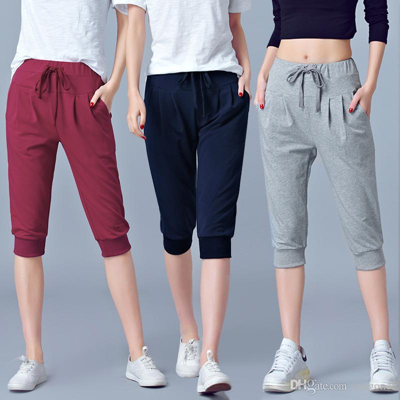 bb250ae41aa853 2019 High Waist Stretch Pants Women Summer Calf Length Harem Pants Large  Size 6XL Casual Trouser Joggers Sweatpants Capri Female From Tangonel, ...