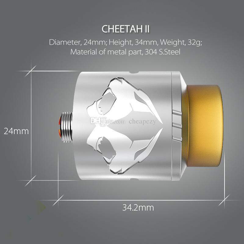 Autêntico OBS Cheetah II 24mm Cheetah 2 Mini 22mm RDA Tanque Rebuidable Dripping Atomizador Fit 510 Mods DHL Livre