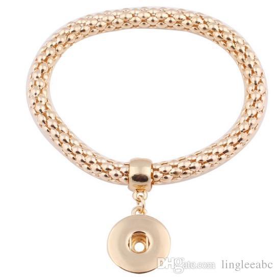Fashion New DIY Noosa Chunk 18mm Metal Button Bracelet DIY Ginger Snap Button Statement Jewelry snap button Bracelet Charms