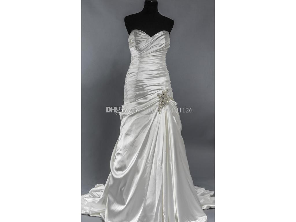 Classic Romance A Line Sweetheart Bridal Gown Ruched Satin Crystals Wedding Dress Casamento Custom Made COR-59 Robe De Moriee