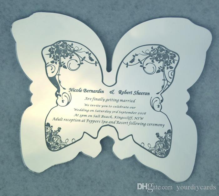 Butterfly silver mirror acrylic invitation card unique glass glass invitation acrylic printed card wedding invitation with mailing plain envelop baby greeting cards bday card from yourdiycards 174 dhgate m4hsunfo