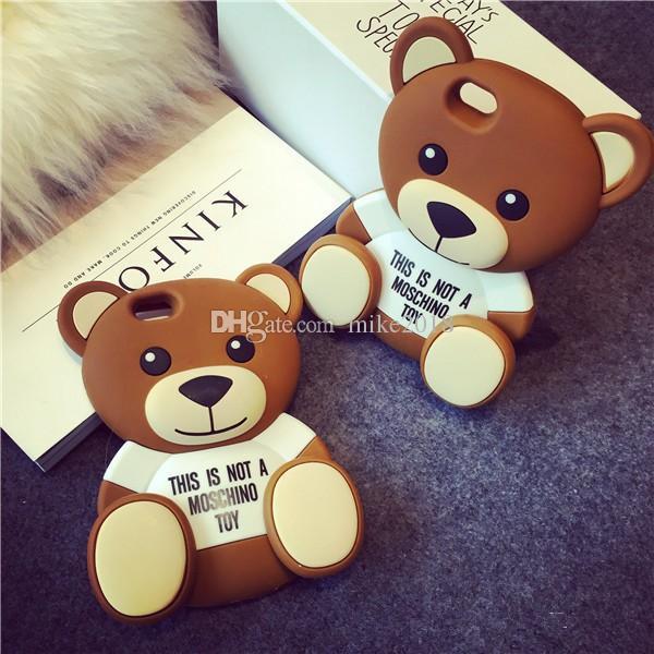 Étui en caoutchouc de silicone TPU souple 3D Cartoon mignon ours brun pour iPhone 6 6s 7/6 Plus 7Plus / 5s 5 SE sacs de téléphone portable couverture