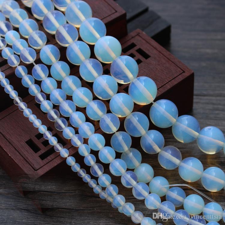 Weißer Opalit Naturstein Schmuck Erkenntnisse Perlen lange Halskette Quaste Ohrringe Charme Armband Kristall Großhandel viel