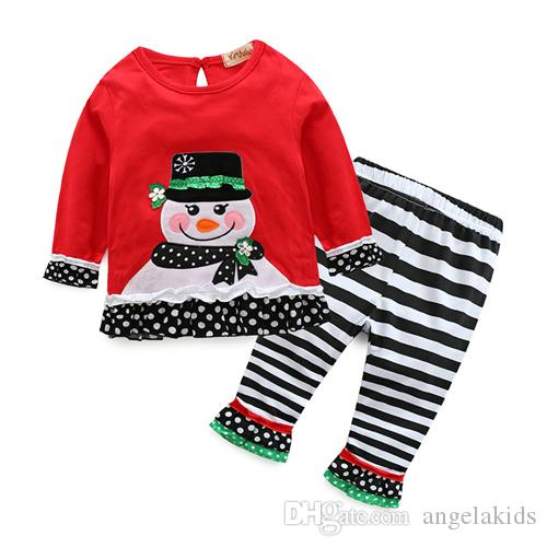Girls Christmas Suits New Arrival Girls Christmas Long Sleeve Shirt Pants Outfit Set Cartoon Snowman Clothing Stripes Wave Point Set