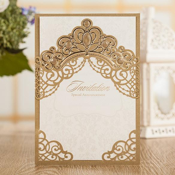 Dark Brown Pearls Gold Crown Wedding Invitations Cards By Wishmade