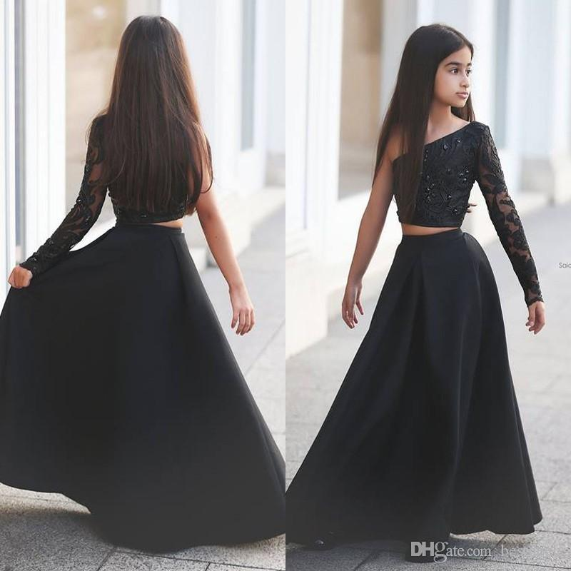 Arabic Said Mhamad Black One Shoulder Long Sleeve Kids Prom Dresses