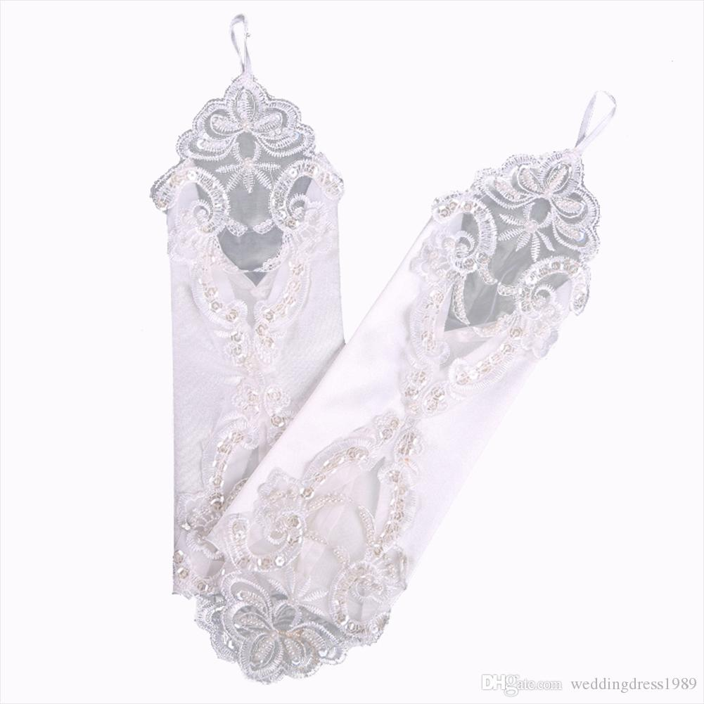 Weiße fingerlose Perlen-Brauthandschuh-Pailletten-Applikations-Hochzeits-Kleid-Partei-Handschuhe-preiswerte Hochzeits-Zusätze auf Lager freies Verschiffen Neue Ankunft