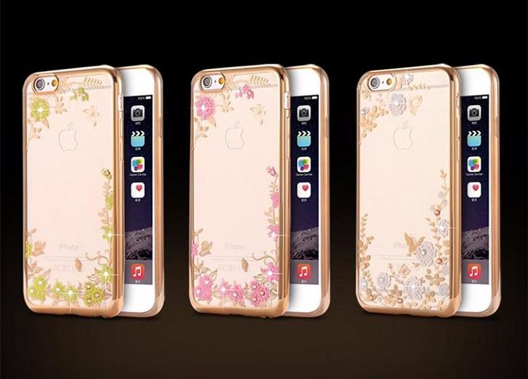 Luxury Bling Diamond Electroplate Frame Soft TPU Case for iphone 6 6plus 7 7plus Secret Garden Flowers TPU plating Diamond Soft rubber Back