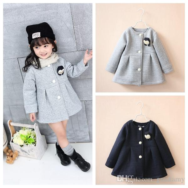 8e14ae1fc Autumn Winter Children Jackets Baby Little Penguin Single Breasted Child  Coat Girl Outerwear Jackets For Girls Bow Girl Clothes Girls Pea Coats Best  Winter ...