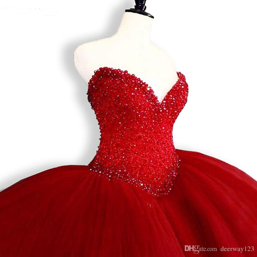 Puffy Quinceanera Dresses 2019 Sweetheart Top perles Sweet 16 robes de bal rouge Quinceanera robe 15 ans robes de fête d'anniversaire