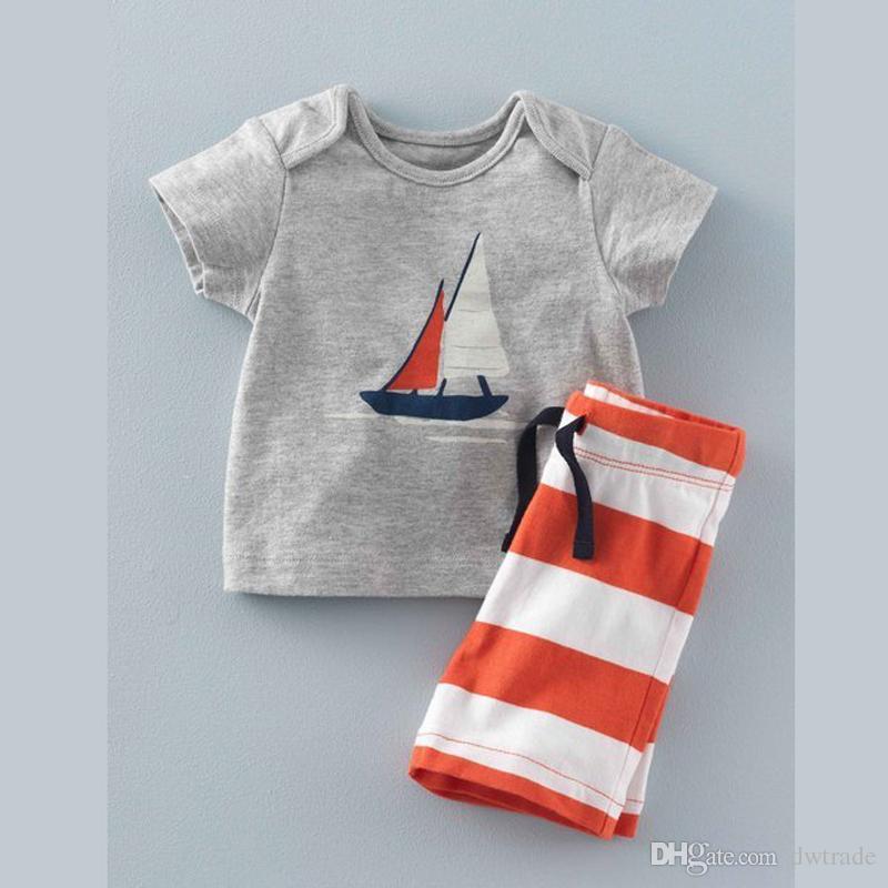 2017 new kids suits tshirt+pants cute printed tshirt and stripe short pants kids cotton suits