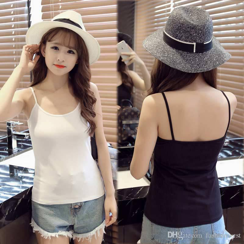 1cfc21874f02e Women Summer Vest Girls Cotton Vest Short Racerback Tank Tops Basic Cami  Casual Spaghetti Strap Mini Sleeveless Waistcoat T Shirt