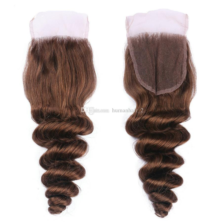 Loose Wave Malaysian Virgin Hair Color #4 Medium Brown Human Hair Weaves 3 Bundles With Lace Top Closure Chestnut Brown Hair Extensions