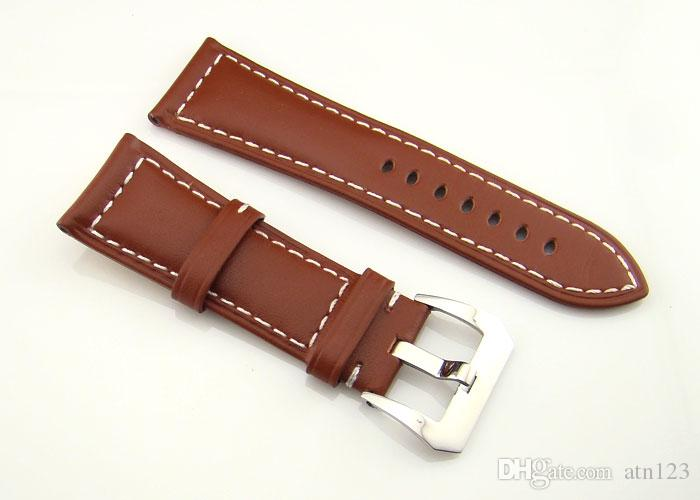 26mm Brown Leather Watchband 115mm/75mm Watch Bands With Buckle Watch Straps For Men High quality Watchbands Mens Bands Replacement P184