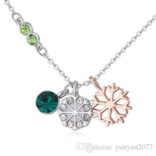 Vente de luxe de haute qualité de haute joaillerie accessoires doux cristal autrichien flocon de neige cercle pendentifs real or charme colliers colliers pour les femmes