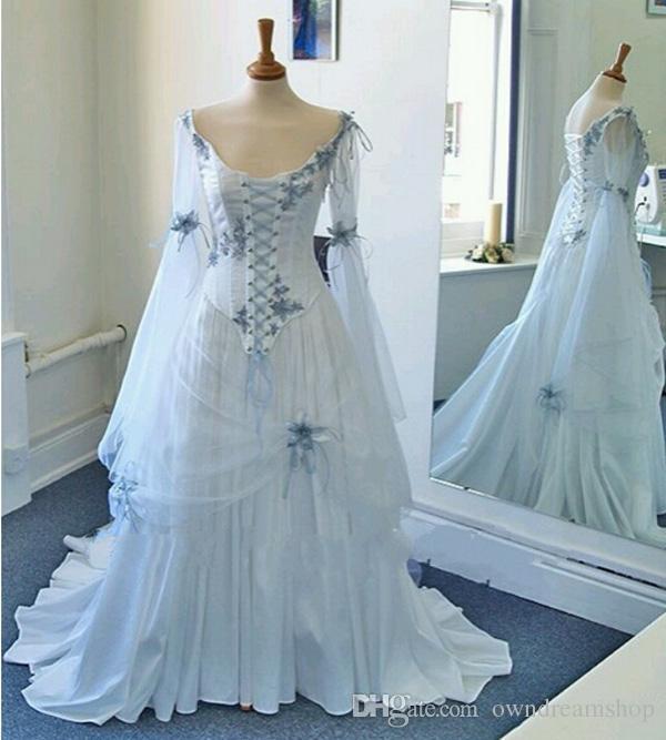 Gótico de la boda de la vendimia vestidos de blanco y azul claro colorido medieval vestidos de novia escote redondo del corsé largas mangas Apliques de Bell Flores