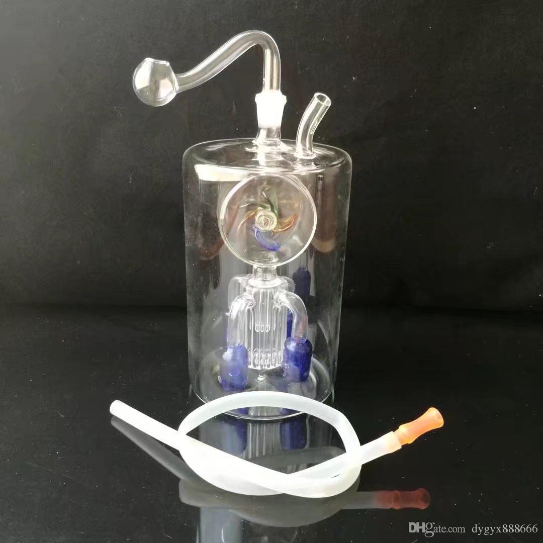 01 Grande barriga redonda moinho de vento quatro garra filtro bongs, bongos de vidro por atacado, tubo de água de vidro, queimador de óleo de vidro, adaptador, tigela