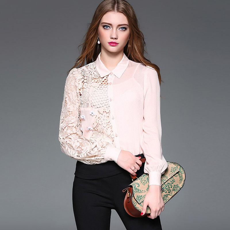 0a84bf837d6bdd 2019 Spring Runway Designer Silk Shirt Women S Puff Sleeve Peter Pan Collar  Lace Patchwork Cutout Irregular Boutique Blouse YA1 From Yuandhmen