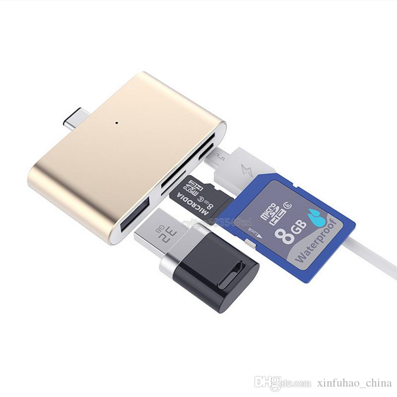 4 in 1 USB 3.1 USB-C Type C TF Micro SD OTG Card Reader for Macbook 12 inch Mobile Phone
