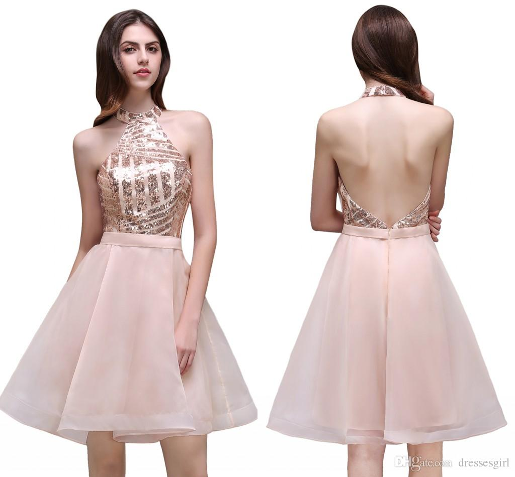 2017 New Country Style Sequined Bridesmaid Dresses Halter Short ...