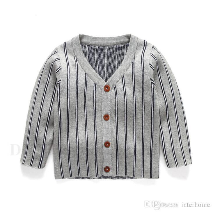Baby Cardigan Sweater Toddlers Stripes Knit Coat Kids Printed Fashion Knitwear V Neck Cardigans Children Cotton Casual Clothing H620