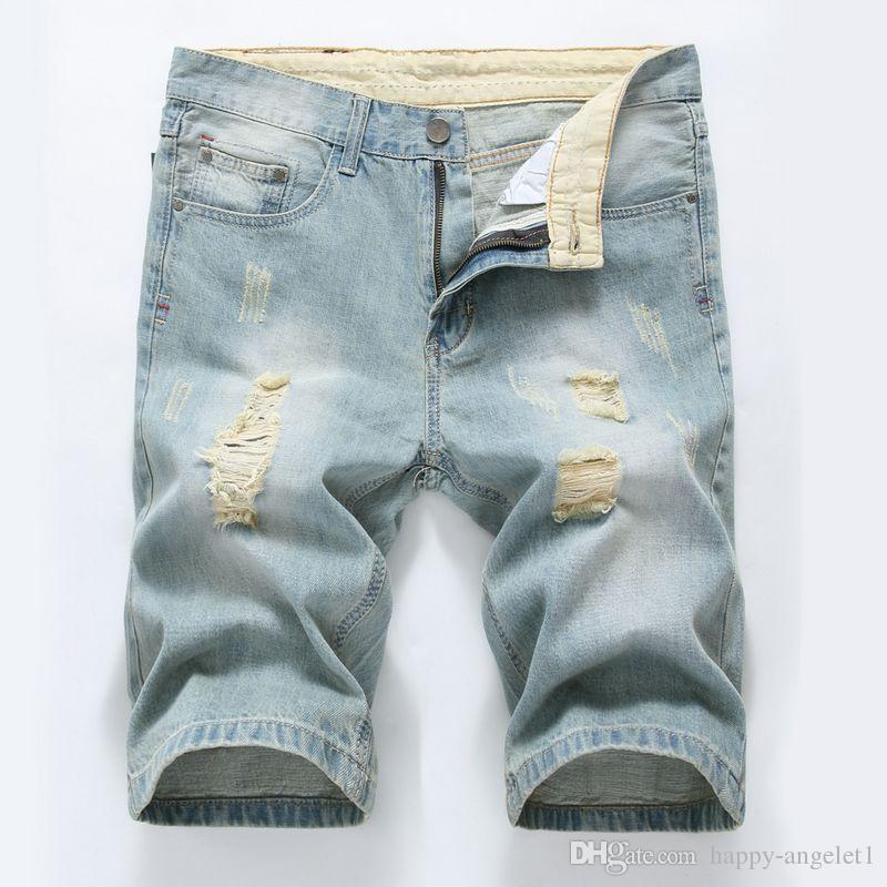 Erkekler Kot 2017 Yaz Rahat Erkekler Kot Şort Delik Yüksek Kalite Moda Diz Boyu Jean Erkekler Için Marka Pantolon Şort Yırtık