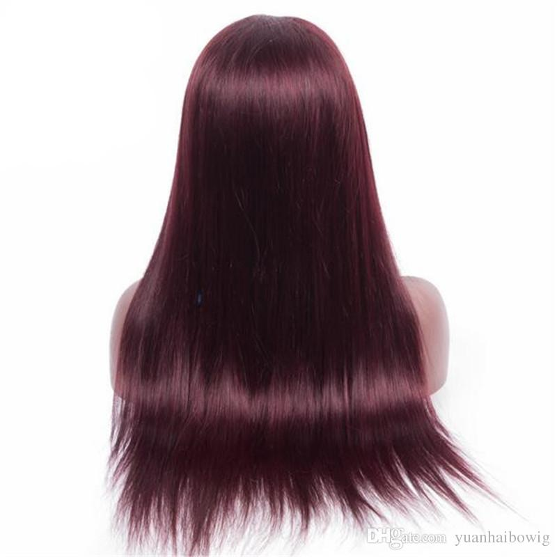 Top Grade Ombre Burgundy 99J Virgin Peruvian Human Hair Straight Omber Blonde #613 Glueless Lace Front Wig