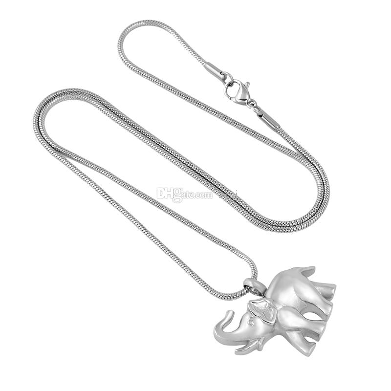 IJD9743 Elefant 316L Edelstahl Feuerbestattung Anhänger Halskette Pet Asche Keepsake Urn Memory Halskette