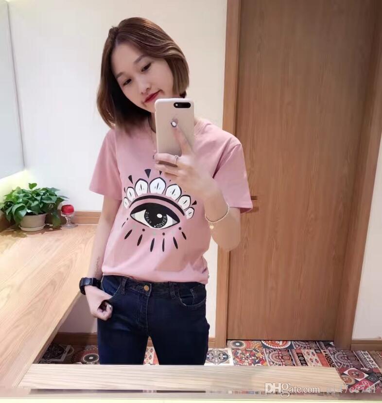 2017 New Summer Fashion ROSE impression Tee Big Eyes Sequin T Shirt Femmes Coton Haute Qualité Larmes T-Shirt Casual Plus Taille Femmes Tops